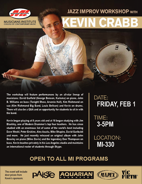 JAZZ IMPROV WORKSHOP AT MI WITH KEVIN CRABB ON FEB. 1, 2013
